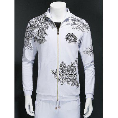 Flowers 3D Print Zippered Long Sleeve Sweatshirt