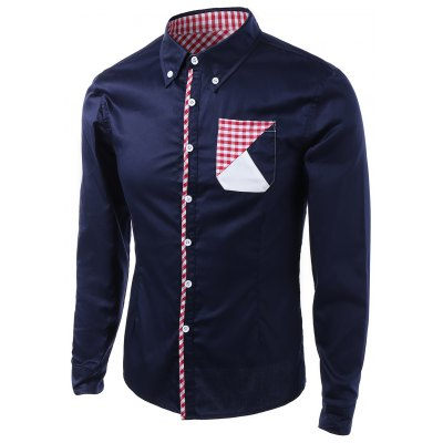 Buy CADETBLUE Gingham Splicing Design Turn-Down Collar Long Sleeve Shirt for $16.62 in GearBest store
