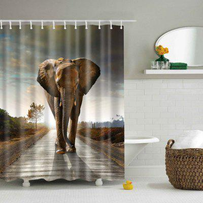 Thick Waterproof Elephant Sunset Bathroom Shower Curtain