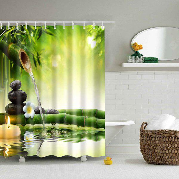 Natural Bamboo Printed Mouldproof Shower Curtain
