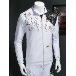 Chinese Character Print Zip Up Long Sleeve Sweatshirt deal
