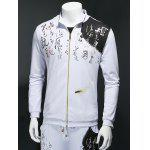 Chinese Character Imprimer Zip Up Sweatshirt manches longues - BLANC