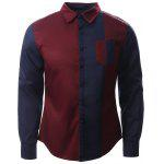 Color Block Splicing Design Turn-Down Collar Long Sleeve Shirt - BLUE AND RED