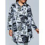 Plus Size Ink Painting Button Down Dress