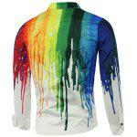 Long Sleeve Colorful Paint Dripping Print Shirt - WHITE