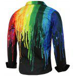 Long Sleeve Colorful Paint Dripping Print Shirt - BLACK