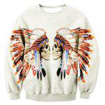 Crew Neck Tribal Skull Printed Sweatshirt - OFF-WHITE