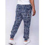 Cotton and Linen Geometric Print Drawstring Beam Feet Jogger Pants - BLUE