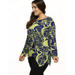 cheap Paisley Knitted Asymmetrical Pullover