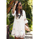 Fashionable Scoop Neck 3/4 Sleeve Lace Splicing Dress For Women - WHITE