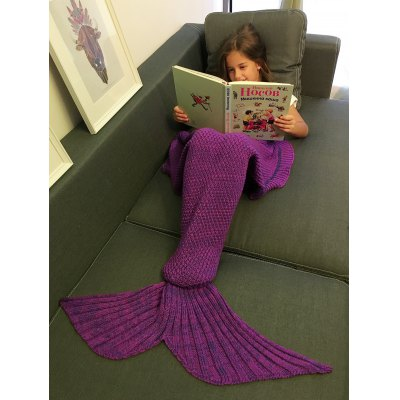 Buy PURPLE Comfortable Flounced Design Knitted Mermaid Tail Blanket for $8.33 in GearBest store
