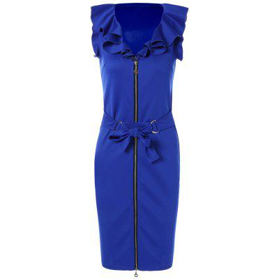Belted Zip Up Pencil Dress