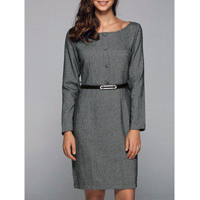 Front Button Sheath Long Sleeve Work Dress