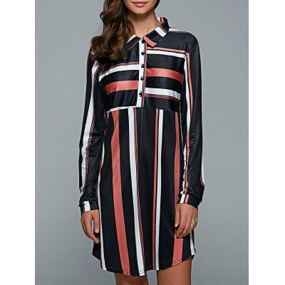 Stripe Long Sleeve Shift Button Shirt Dress