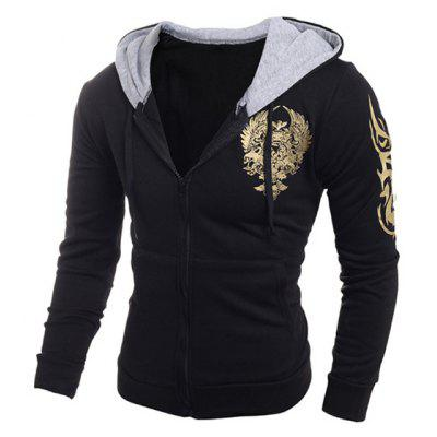 Printing Hooded Zip-Up Drawstring Hoodie