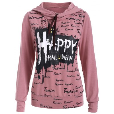 Long Sleeve Letter Print Long Neck Hoodie