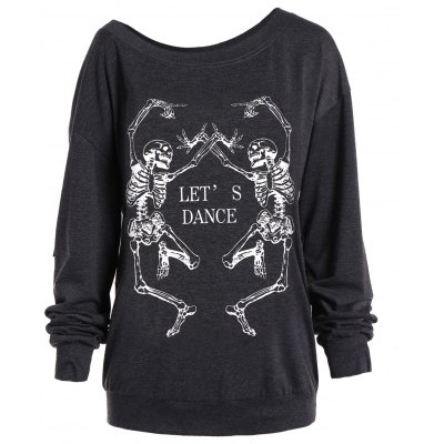 Skew Collar Skeleton Print Halloween Sweatshirt