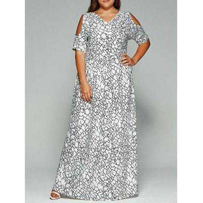 Plus Size Cold Shoulder Maxi Bohemian Dress