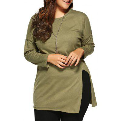 Plus Size Side Slit Long T-Shirt