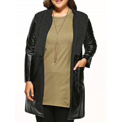 Plus Size PU Leather Spliced Woolen Coat