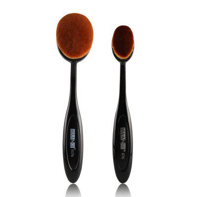 2 Pcs/Set Oval Toothbrush Shape Blush Powder Brush + Foundation Brush
