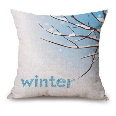 Winter Snow Design Printed Linen Pillow Case