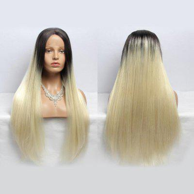 Long Straight Center Parting Synthetic Double Color Lace Front Wig