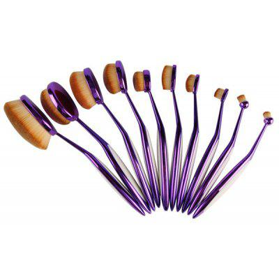 Buy PURPLE 10 Pcs Nylon Toothbrush Shape Facial Eye Lip Makeup Brush Set for $33.05 in GearBest store