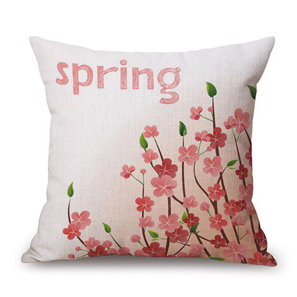 Spring Season Flower Sofa Cushion Linen Pillow Case