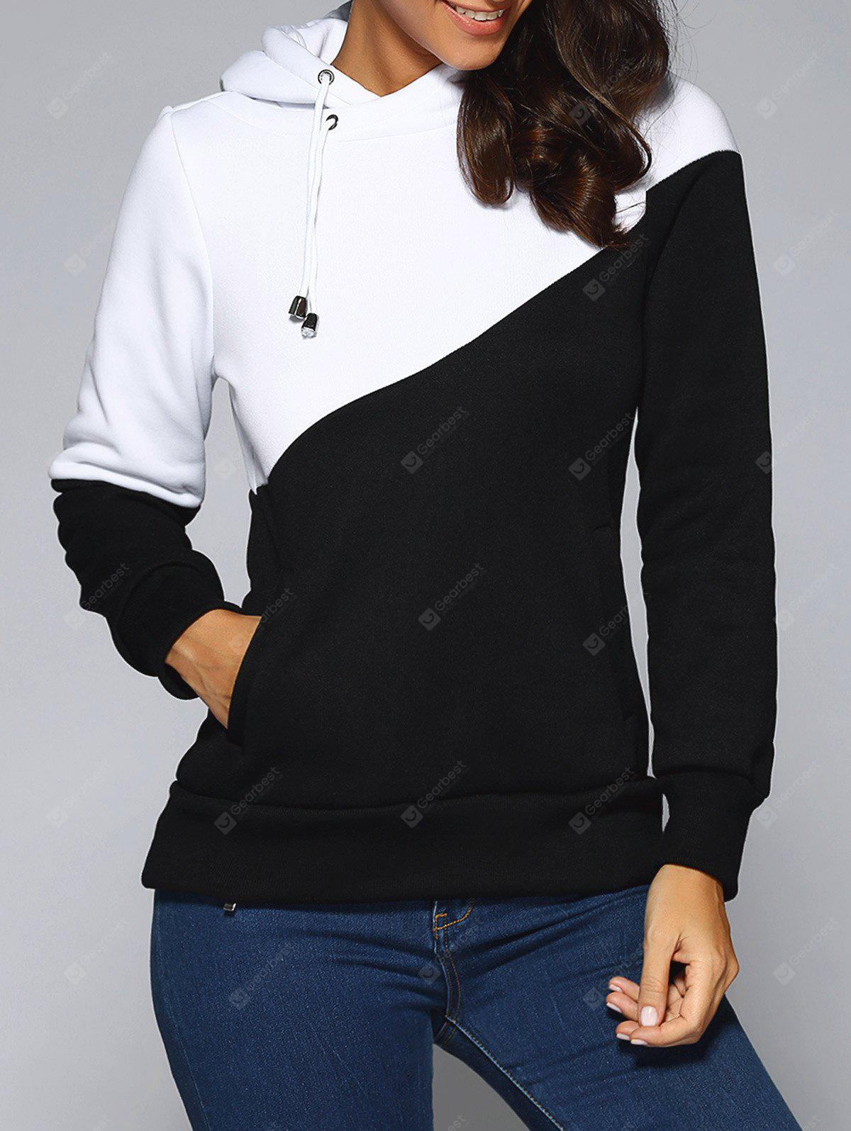 WHITE AND BLACK Contrast Color Spliced Pocket Design Hoodie