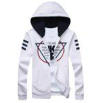 Triângulo Invertido Imprimir manga comprida Zip Up Hoodie - BRANCO