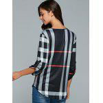 V Neck 3/4 Sleeve Plaid Blouse deal
