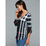 cheap V Neck 3/4 Sleeve Plaid Blouse