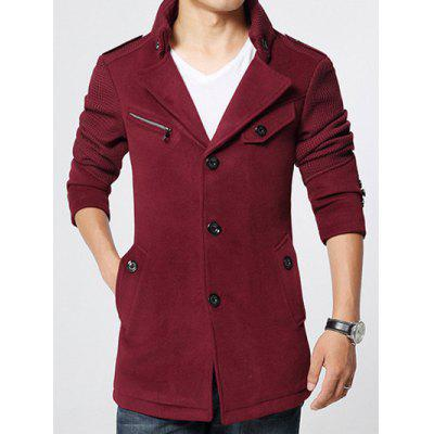 Epaulet Embellished Knited Spliced Single-Breasted Stand Collar Woolen Coat