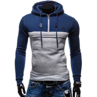 Buy BLUE Color Splicing Zip Up Drawstring Pullover Hoodie for $15.96 in GearBest store