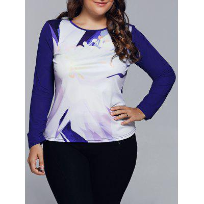 Spliced Abstract Print Raglan Sleeves T-Shirt