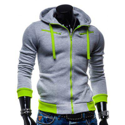 IZZUMI Drawstring Zippered Color Splicing Hoodie