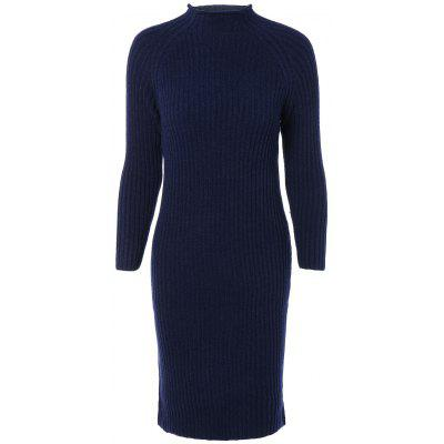 Long Sleeves Ribbed Bodycon Knitted Dress