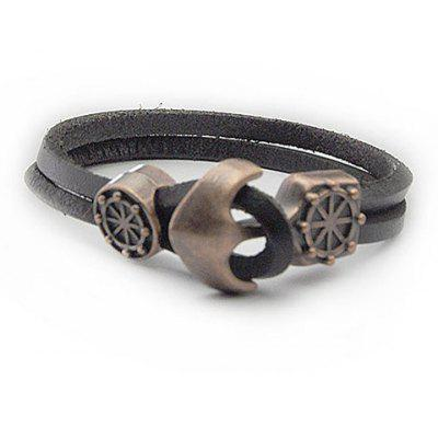 Anchor Rudder Faux Leather Bracelet