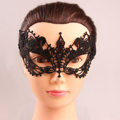 Mystical Upper Half Face Black Lace Hollow Out Carnival Masquerade Masks
