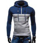 Zip Up Spliced Hoodie - BLUE