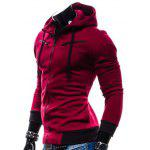 IZZUMI Drawstring Zippered Spliced Hoodie - WINE RED