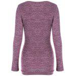 cheap Side Button Cowl Neck Knitted Long Sleeve Sweater