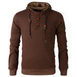 Elbow Patch Long Sleeve Drawstring Pullover Hoodie - COFFEE