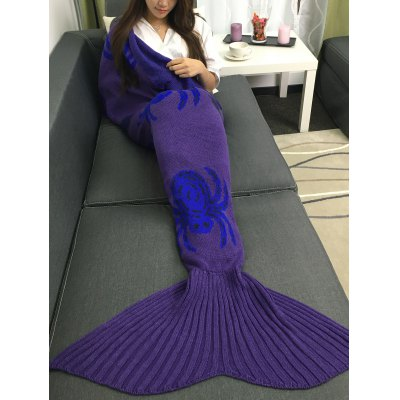 Halloween Spider Multicolor Crochet Knitting Mermaid Tail Style Blanket