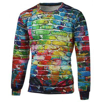 Crew Neck Long Sleeve Brick Wall Print Graphic Sweatshirts
