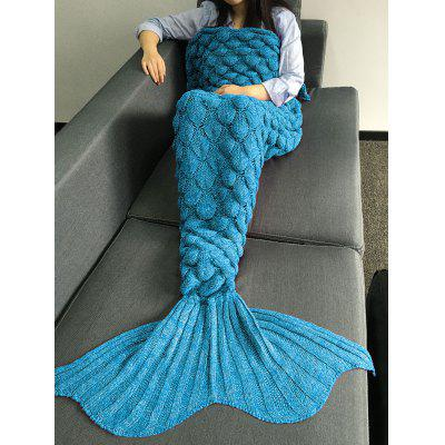 Buy LAKE BLUE M Crochet Knitting Fish Scales Design Mermaid Tail Style Blanket for $21.50 in GearBest store