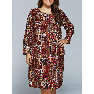 Plus Size Print Long Sleeve Dress