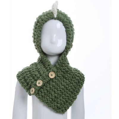 Buttons Cartoon Dinosaur Knitted Hooded Scarf
