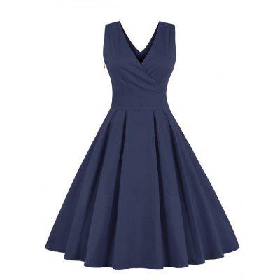 Retro Sleeveless Tea Length Party Dress